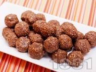 Рецепта Свежи какаови веган бонбони с фурми, стафиди, овесени ядки и орехи